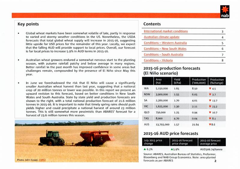 【农业】NAB报告:澳小麦产量好于此前预估 价格预计上扬