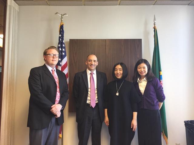 金虹副局长一行拜访美国华盛顿州商务厅