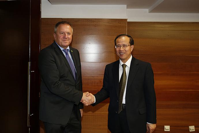傅自应在京会见斯洛文尼亚经济发展与技术部长波契瓦尔舍克